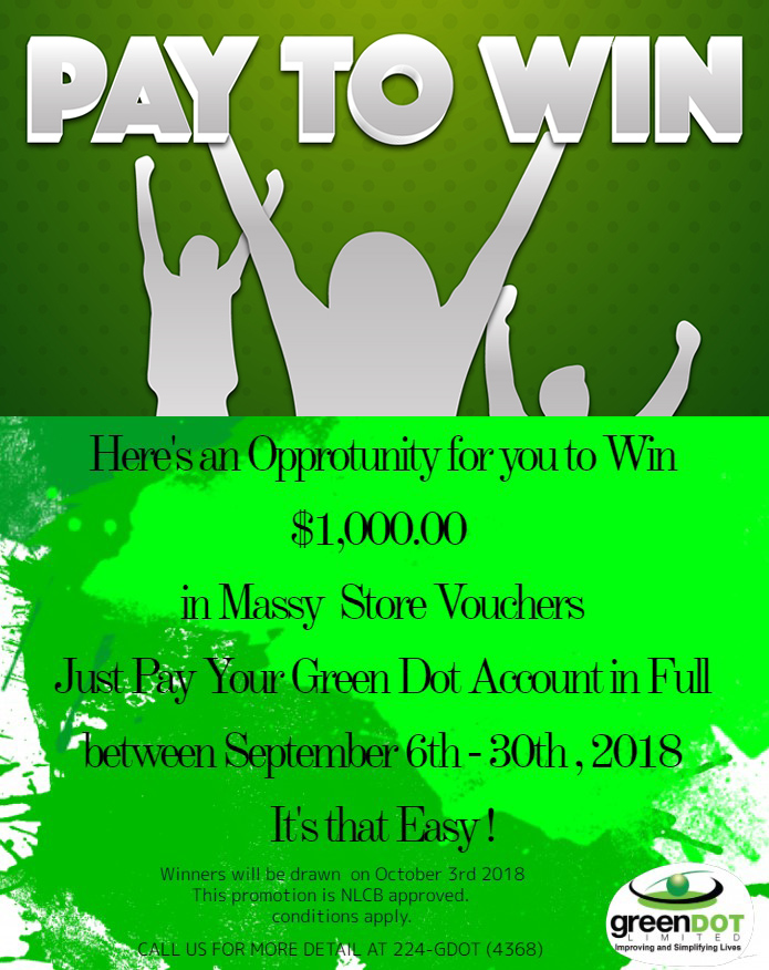 "Win! Win! Win! in the ""Pay to Win"" Promotion « Green Dot Limited"